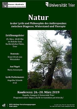 Plakat zur Konferenz: Natur in der Lyrik und Philosophie des Anthropozäns